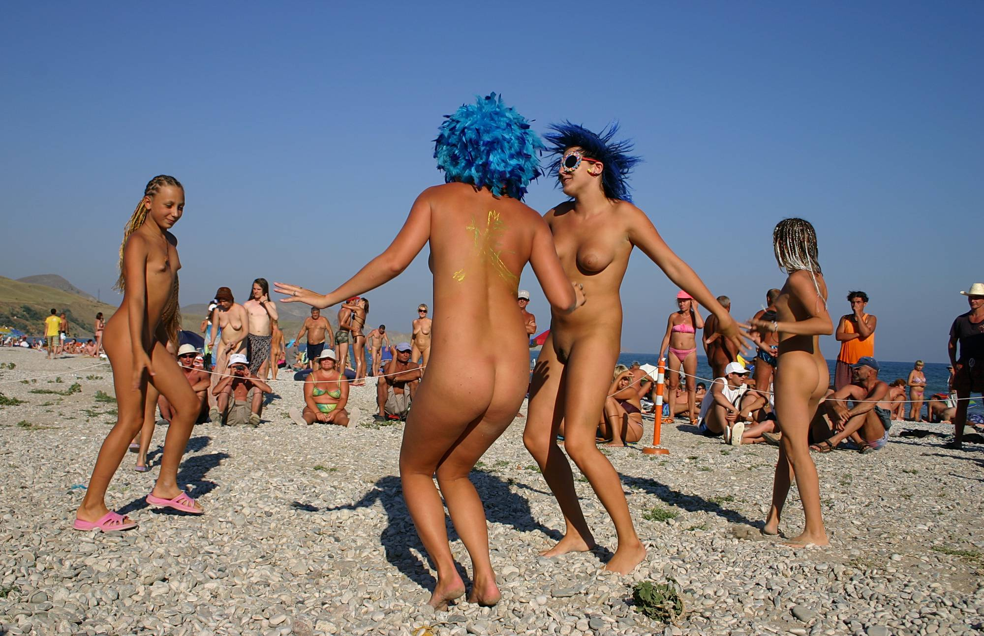 Nudist Photos Blue Haired Sand Dance - 1