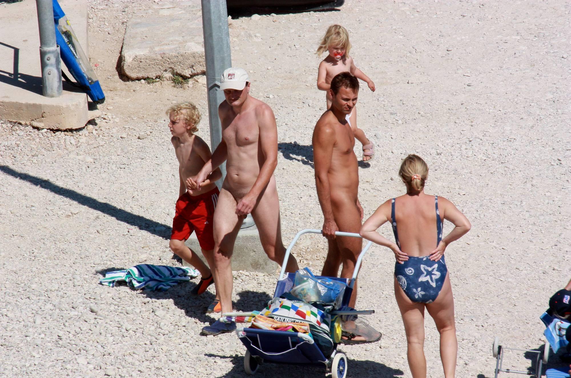 Nudist Photos Boy and His Dad Beach Walk - 1