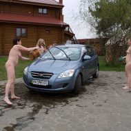 Washing Car In The Nude