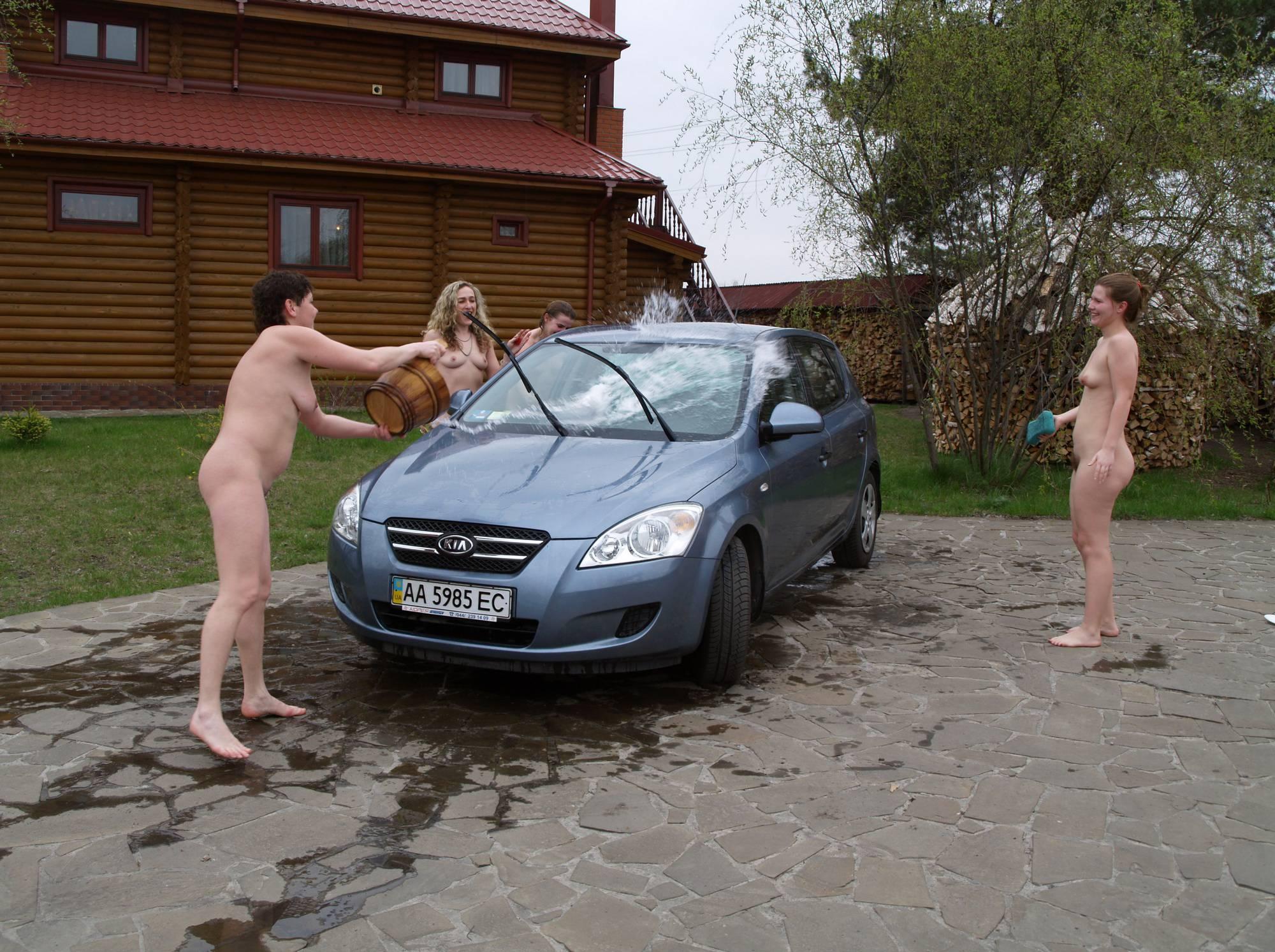 Washing Car In The Nude - 1