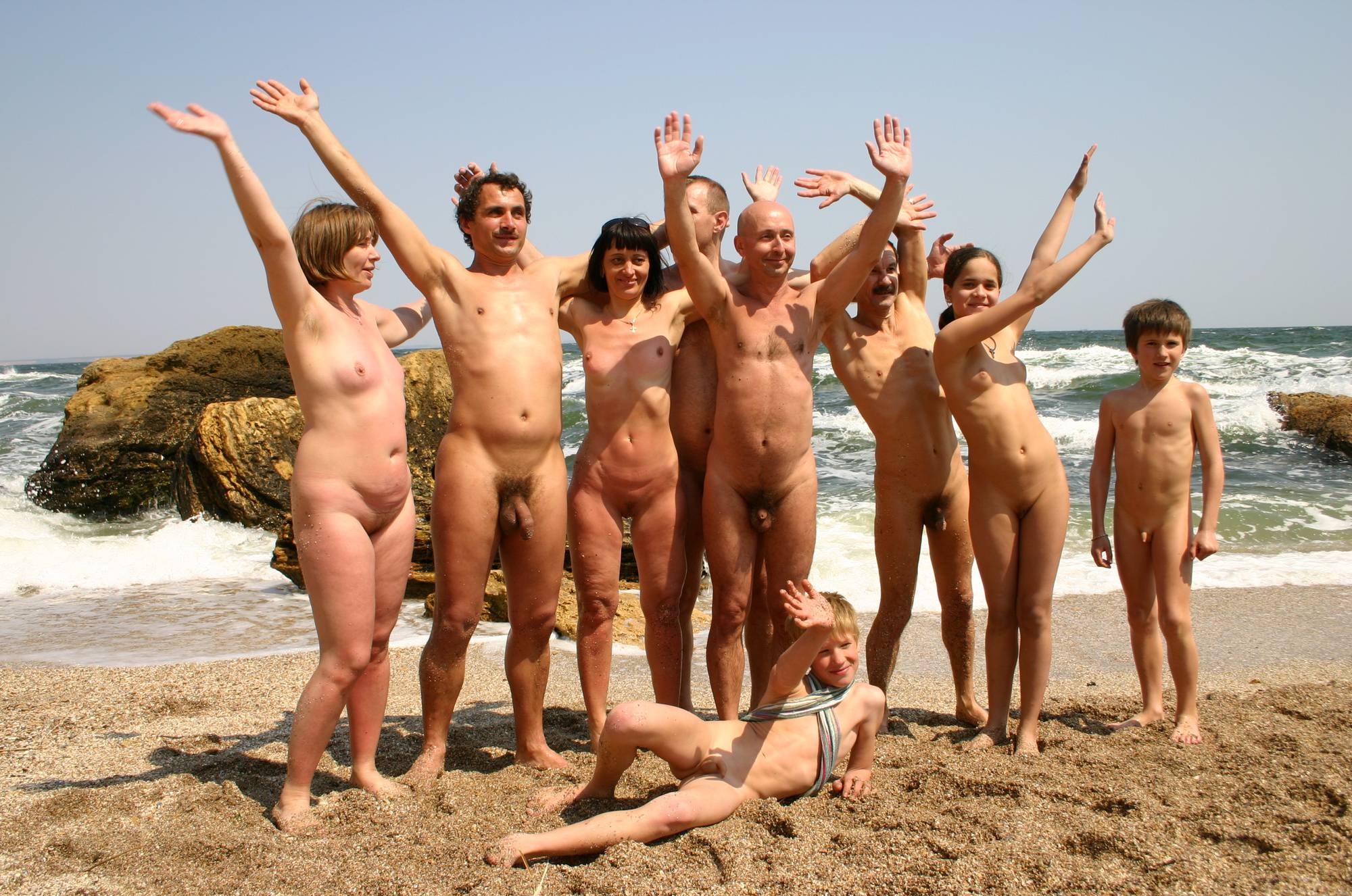 Nudist Gallery Group Wave to Remember - 1